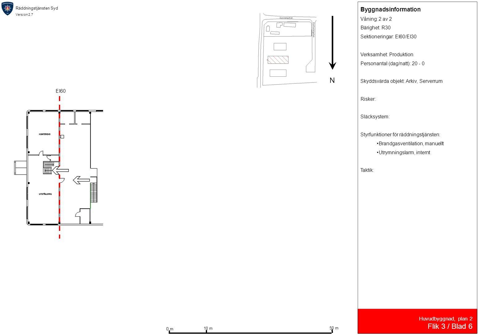 N Flik 3 / Blad 6 Byggnadsinformation Huvudbyggnad, plan 2