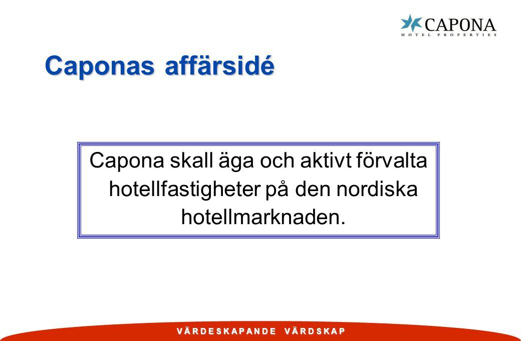 Caponas affärsidé Capona skall äga och aktivt förvalta hotellfastigheter på den nordiska hotellmarknaden.