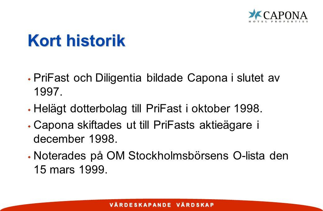 Kort historik PriFast och Diligentia bildade Capona i slutet av 1997.