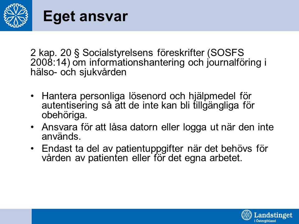 Eget ansvar 2 kap. 20 § Socialstyrelsens föreskrifter (SOSFS 2008:14) om informationshantering och journalföring i hälso- och sjukvården.