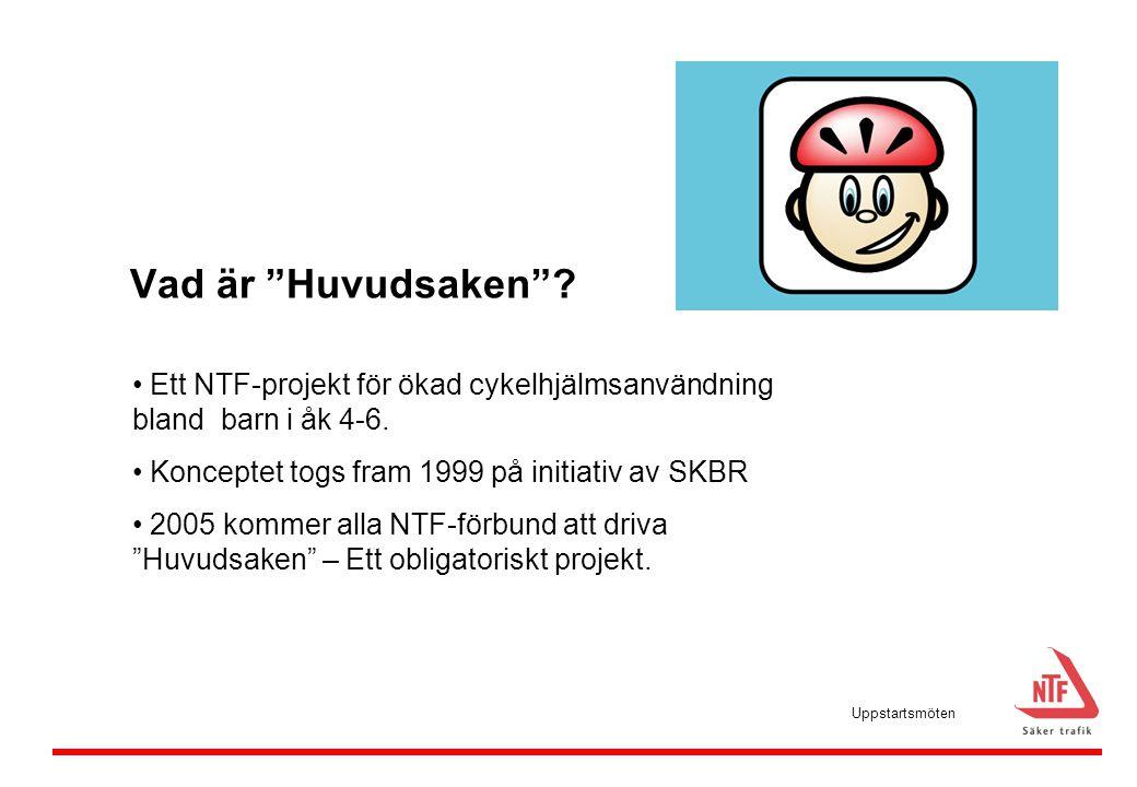 Vad är Huvudsaken Ett NTF-projekt för ökad cykelhjälmsanvändning bland barn i åk 4-6. Konceptet togs fram 1999 på initiativ av SKBR.