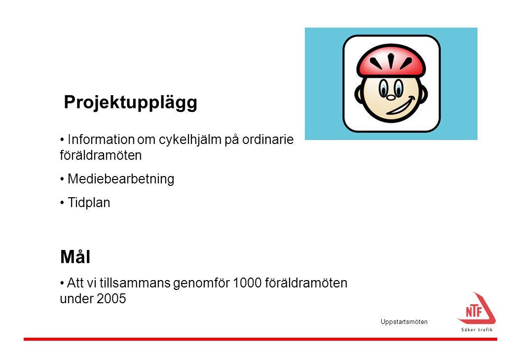 Projektupplägg Information om cykelhjälm på ordinarie föräldramöten. Mediebearbetning. Tidplan. Mål.