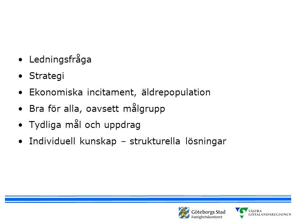 Ledningsfråga Strategi. Ekonomiska incitament, äldrepopulation. Bra för alla, oavsett målgrupp. Tydliga mål och uppdrag.