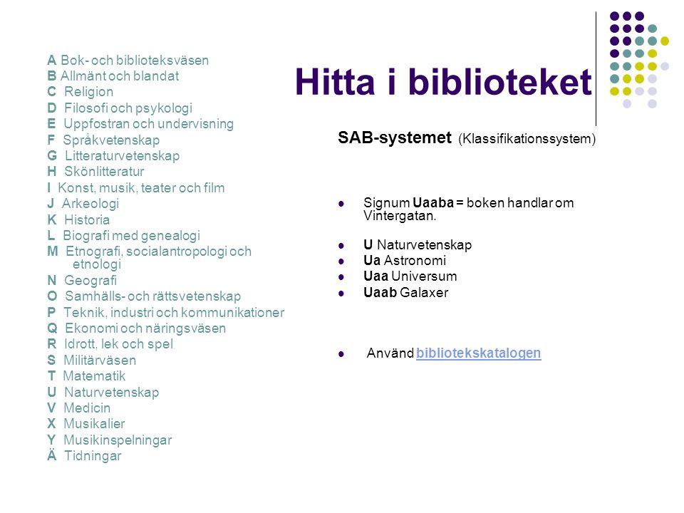 Hitta i biblioteket SAB-systemet (Klassifikationssystem)