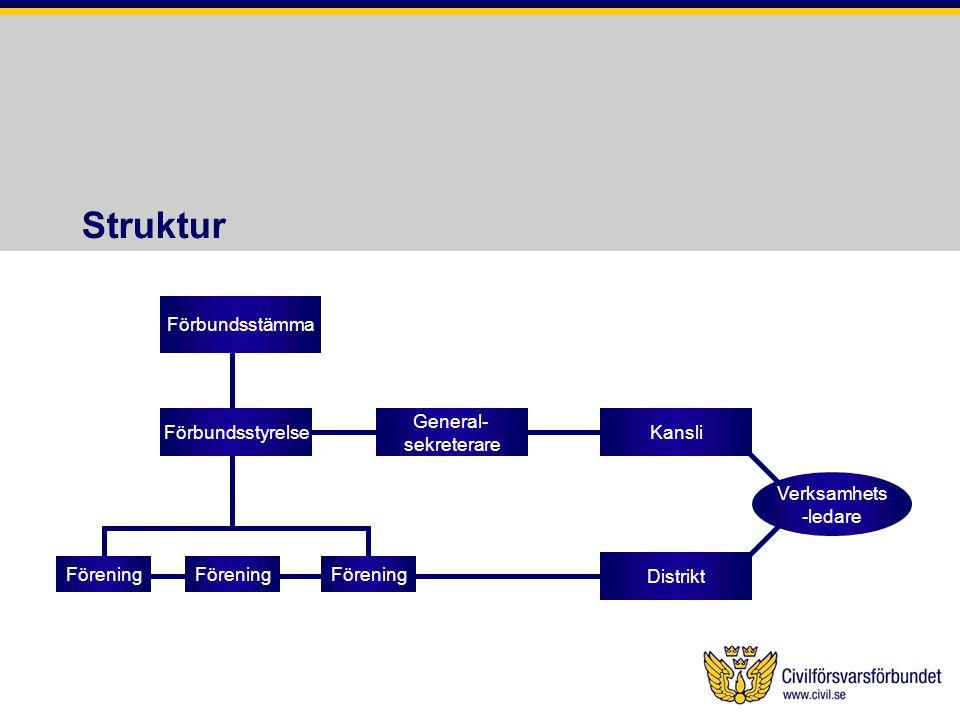 Struktur Förbundsstämma Förbundsstyrelse Förening Distrikt General-