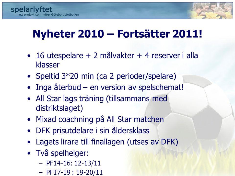 Nyheter 2010 – Fortsätter 2011! 16 utespelare + 2 målvakter + 4 reserver i alla klasser. Speltid 3*20 min (ca 2 perioder/spelare)