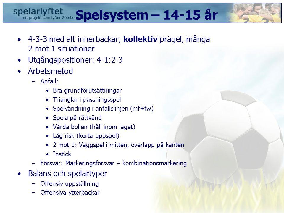 Spelsystem – 14-15 år 4-3-3 med alt innerbackar, kollektiv prägel, många 2 mot 1 situationer. Utgångspositioner: 4-1:2-3.