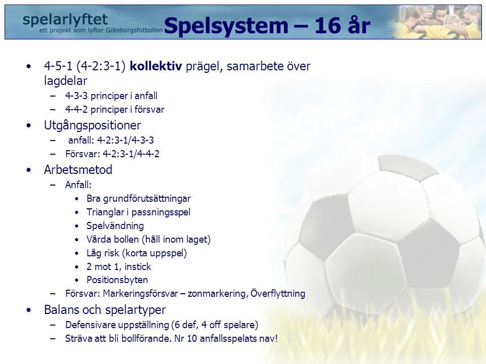 Spelsystem – 16 år 4-5-1 (4-2:3-1) kollektiv prägel, samarbete över lagdelar. 4-3-3 principer i anfall.
