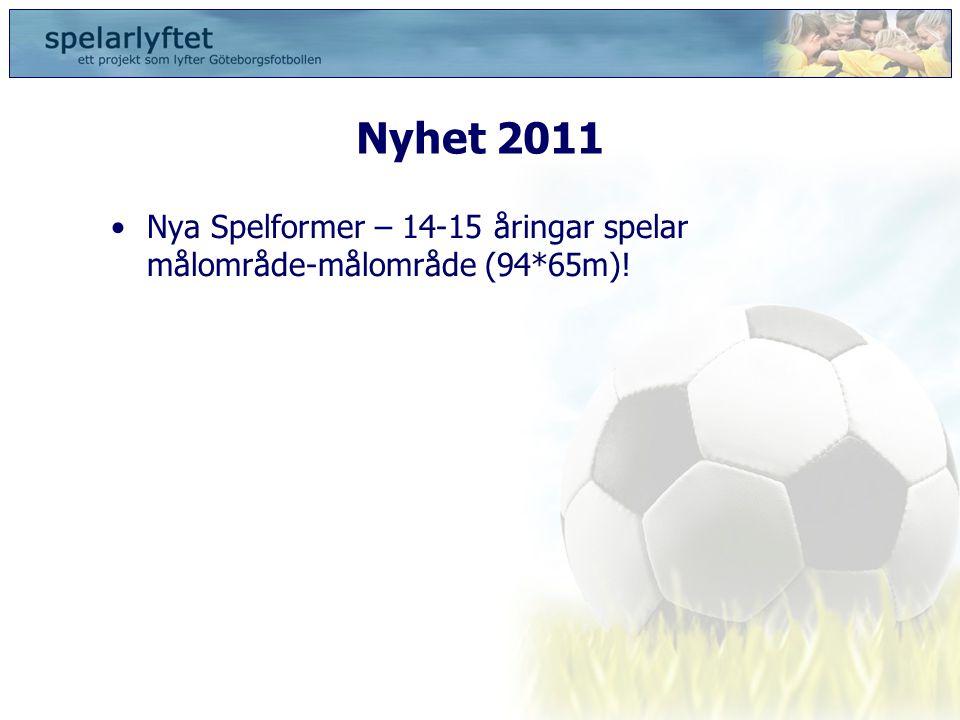 Nyhet 2011 Nya Spelformer – 14-15 åringar spelar målområde-målområde (94*65m)!