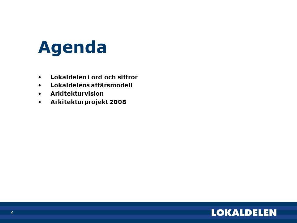 Agenda Lokaldelen i ord och siffror Lokaldelens affärsmodell
