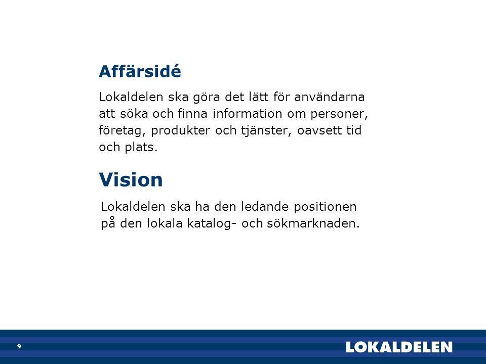 Vision Affärsidé Lokaldelen ska göra det lätt för användarna