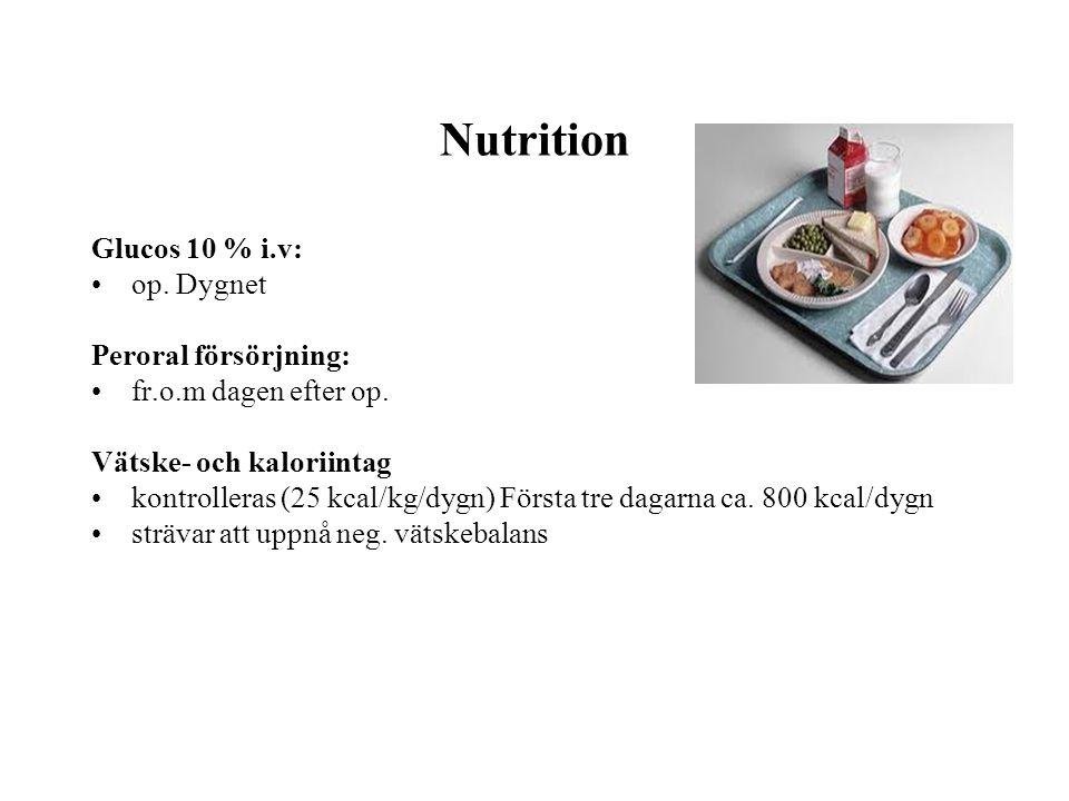 Nutrition Glucos 10 % i.v: op. Dygnet Peroral försörjning: