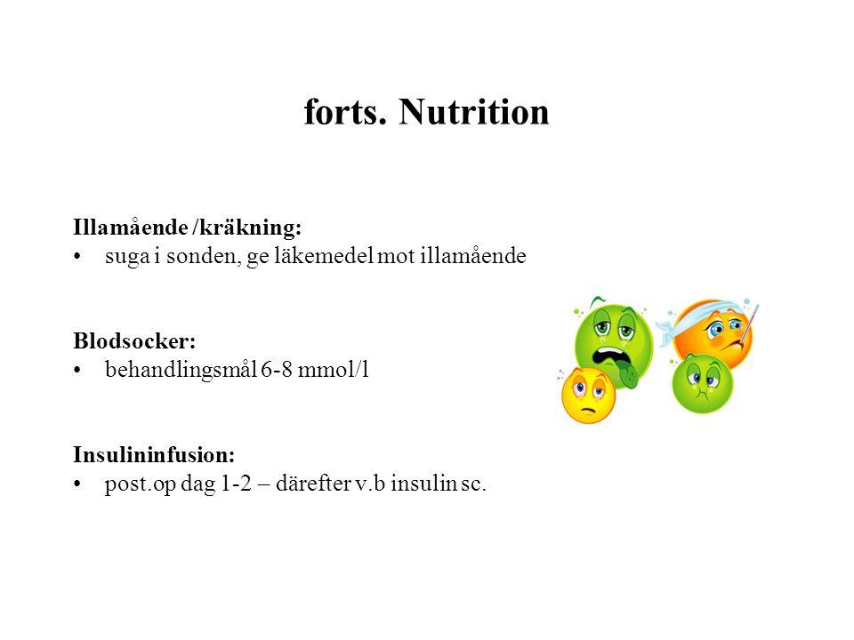 forts. Nutrition Illamående /kräkning: