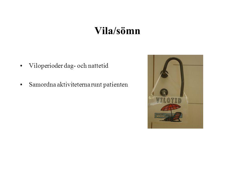 Vila/sömn Viloperioder dag- och nattetid