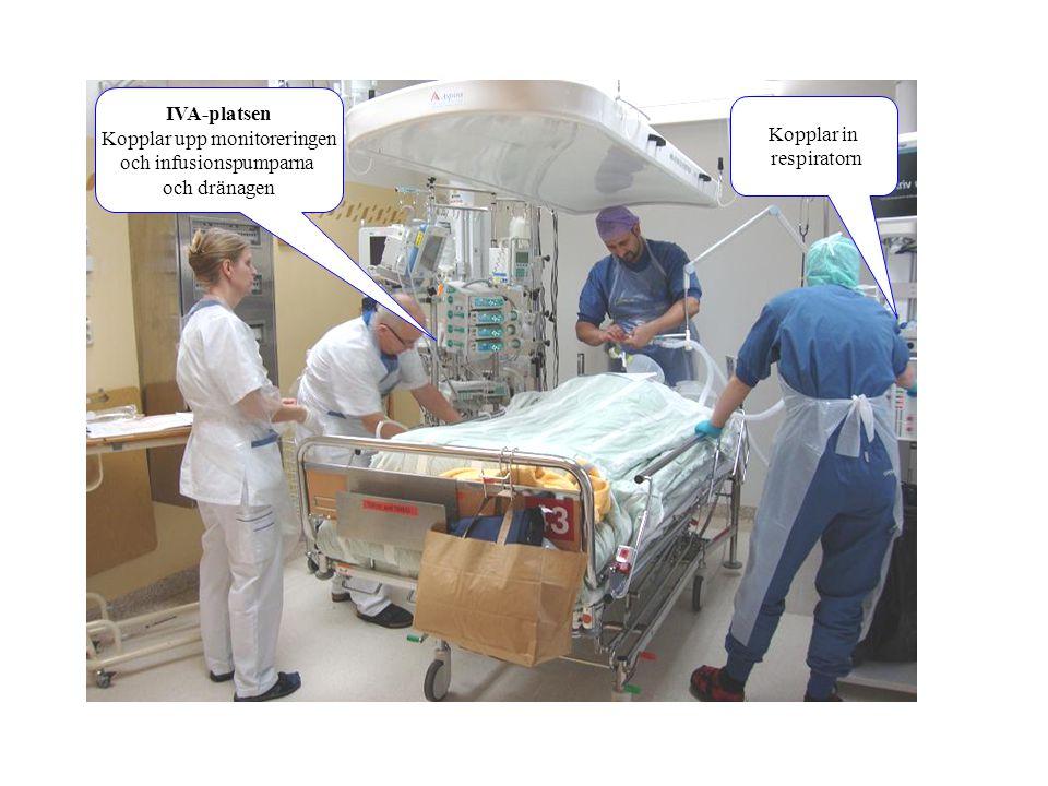 Kopplar upp monitoreringen och infusionspumparna och dränagen