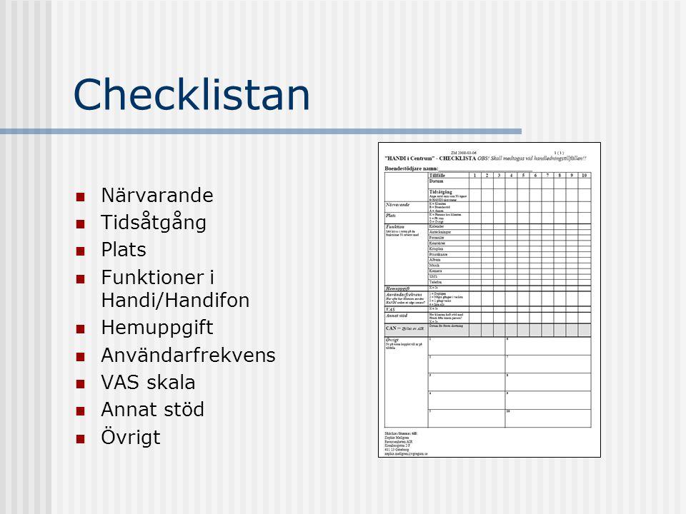 Checklistan Närvarande Tidsåtgång Plats Funktioner i Handi/Handifon