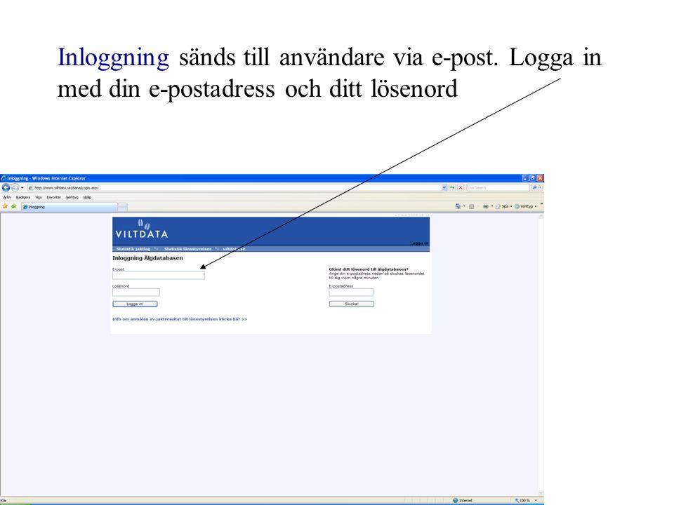 Inloggning sänds till användare via e-post