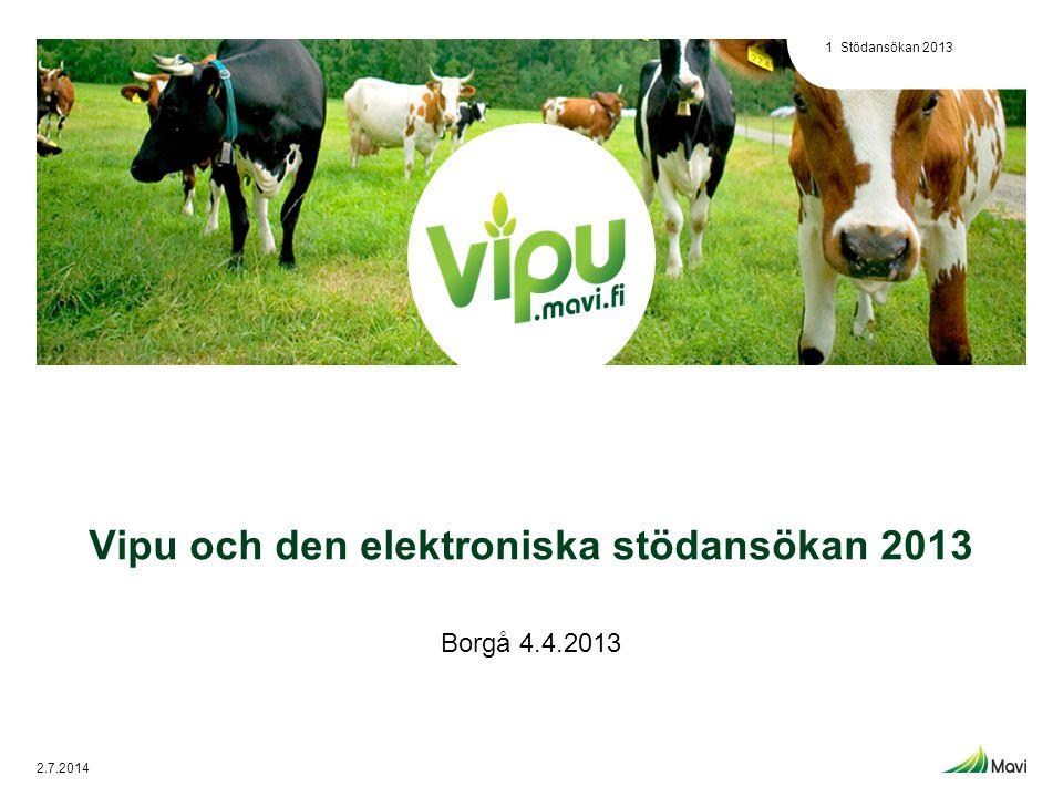 Vipu och den elektroniska stödansökan 2013