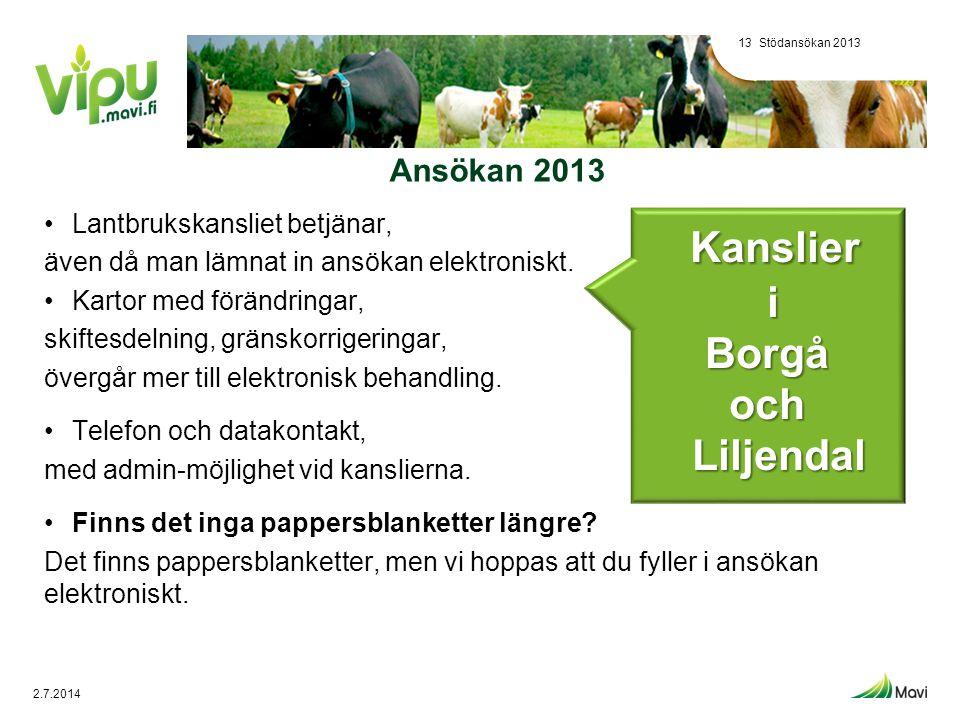 Kanslier i Borgå och Liljendal Ansökan 2013