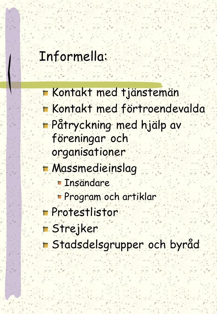 Informella: Kontakt med tjänstemän Kontakt med förtroendevalda