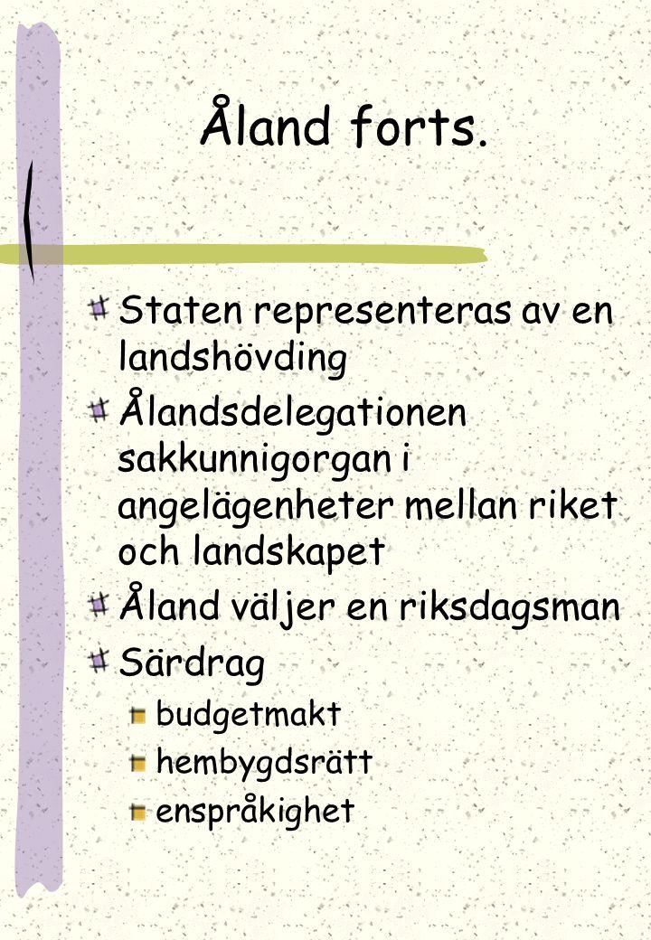 Åland forts. Staten representeras av en landshövding