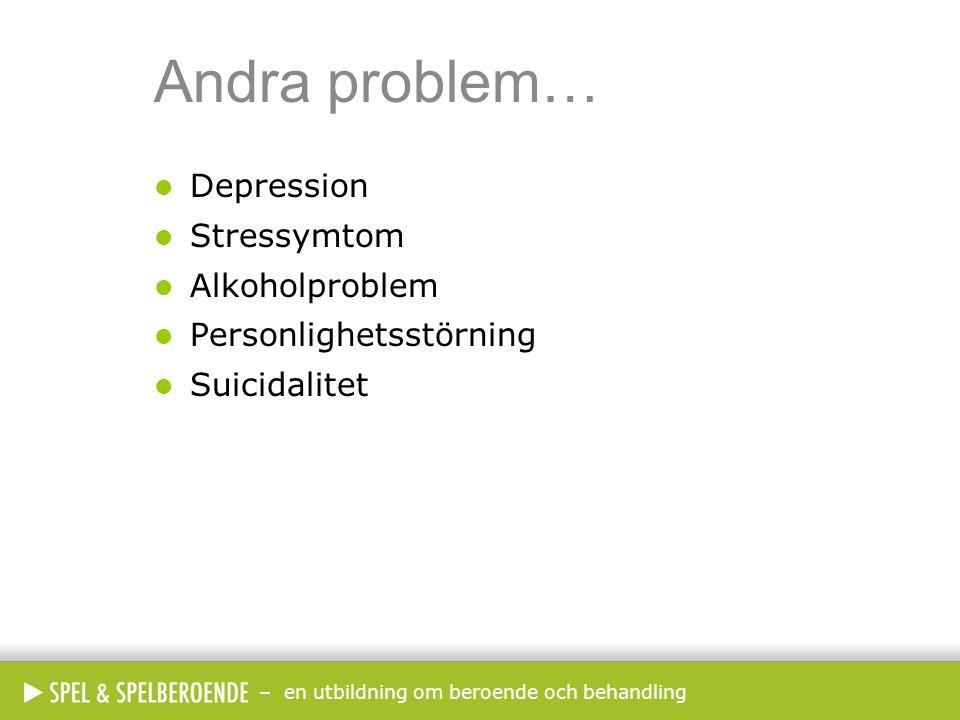 Andra problem… Depression Stressymtom Alkoholproblem