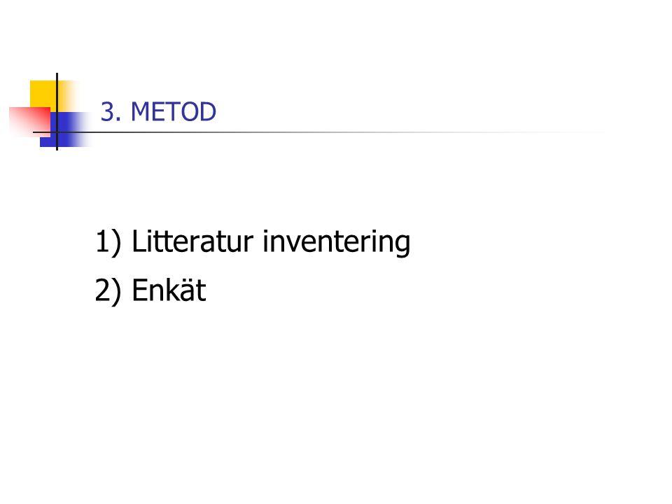 1) Litteratur inventering 2) Enkät