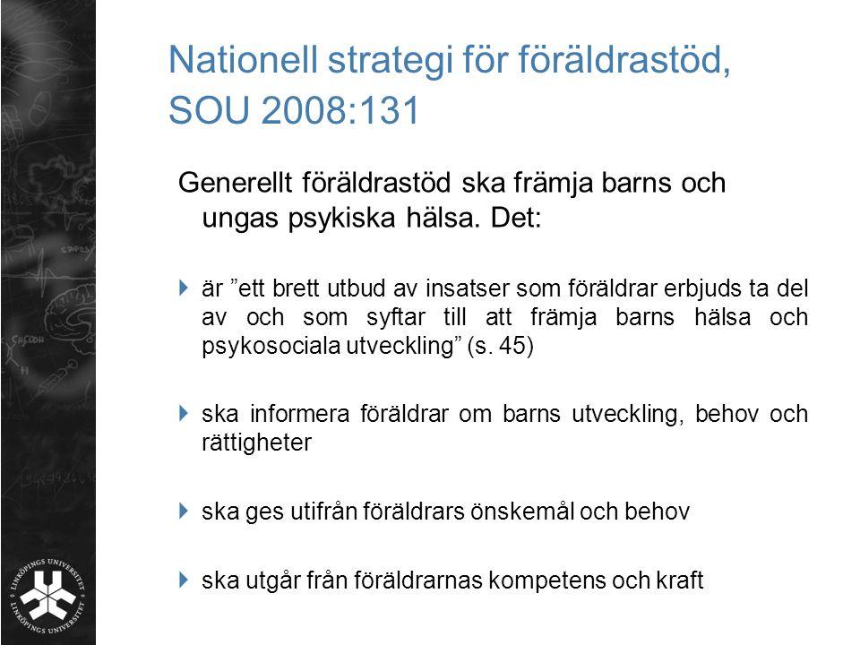 Nationell strategi för föräldrastöd, SOU 2008:131