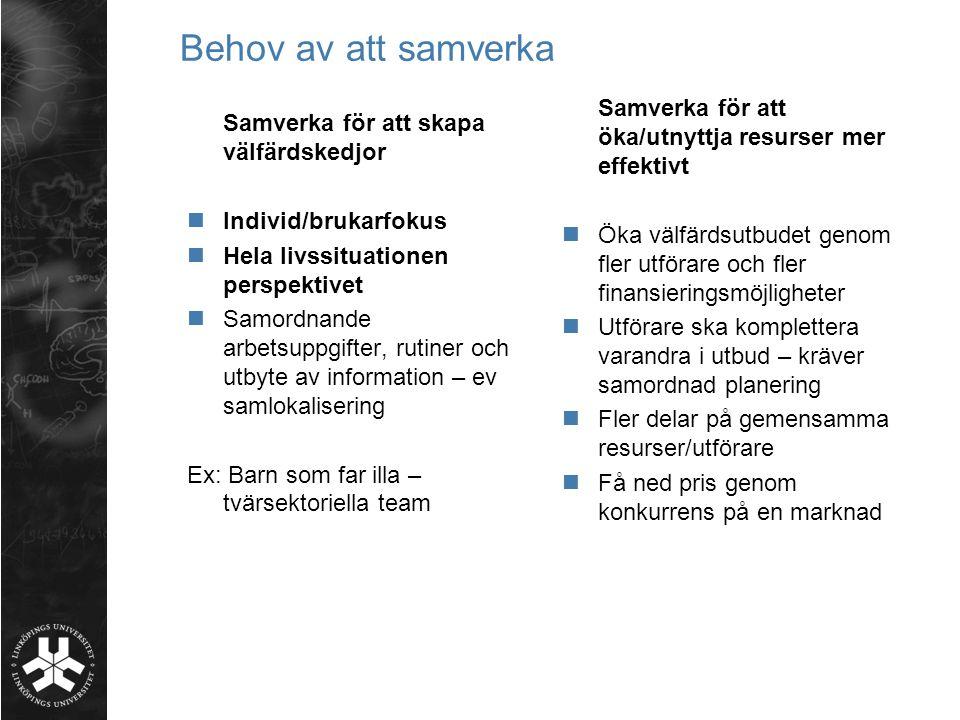 Behov av att samverka Samverka för att öka/utnyttja resurser mer effektivt.