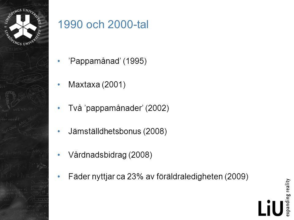 1990 och 2000-tal 'Pappamånad' (1995) Maxtaxa (2001)