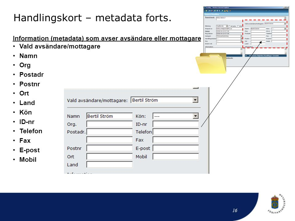 Handlingskort – metadata forts.