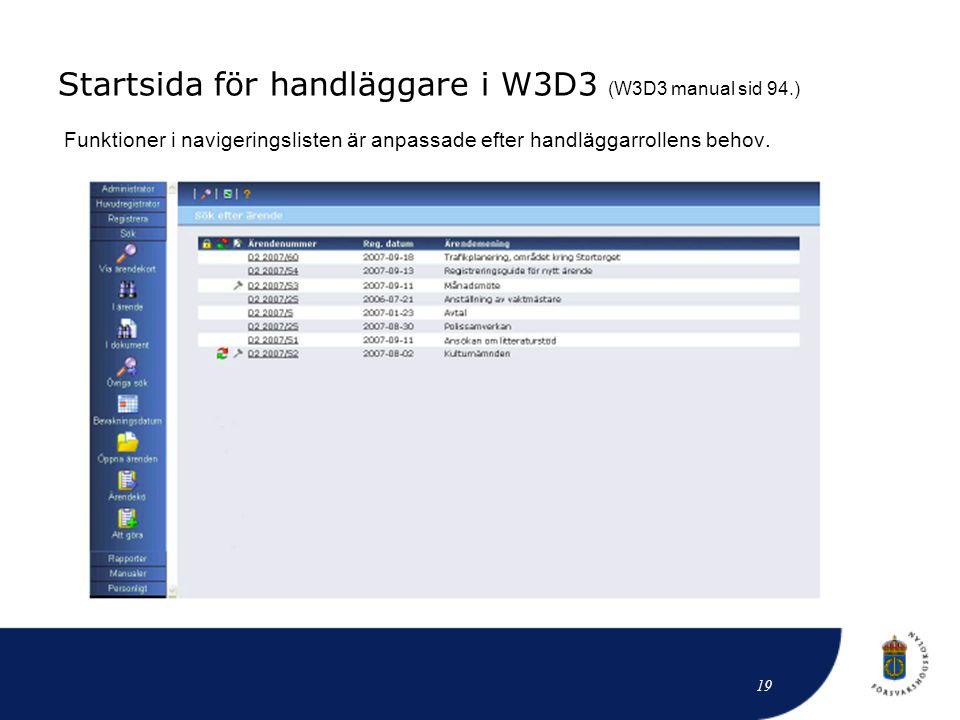 Startsida för handläggare i W3D3 (W3D3 manual sid 94.)