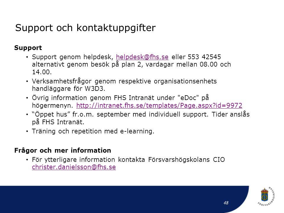 Support och kontaktuppgifter