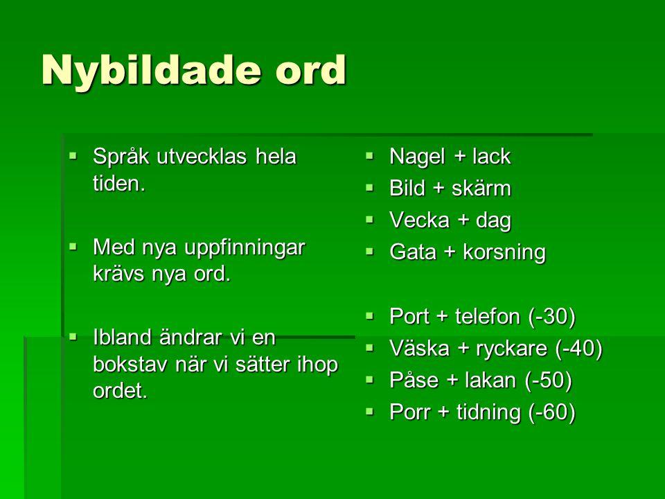 Nybildade ord Språk utvecklas hela tiden.