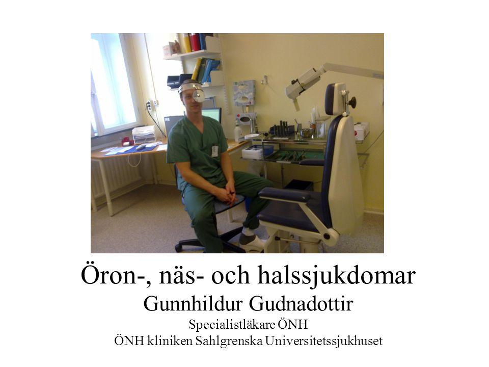 Öron-, näs- och halssjukdomar Gunnhildur Gudnadottir Specialistläkare ÖNH ÖNH kliniken Sahlgrenska Universitetssjukhuset