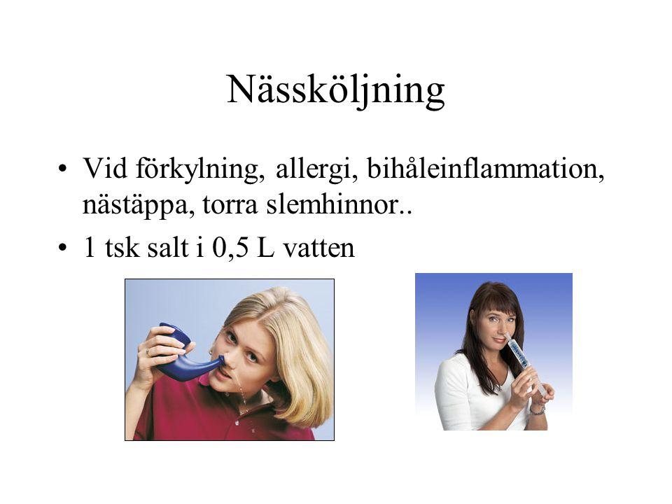 Nässköljning Vid förkylning, allergi, bihåleinflammation, nästäppa, torra slemhinnor..