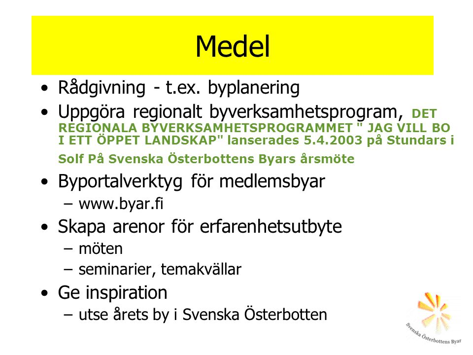 Medel Rådgivning - t.ex. byplanering