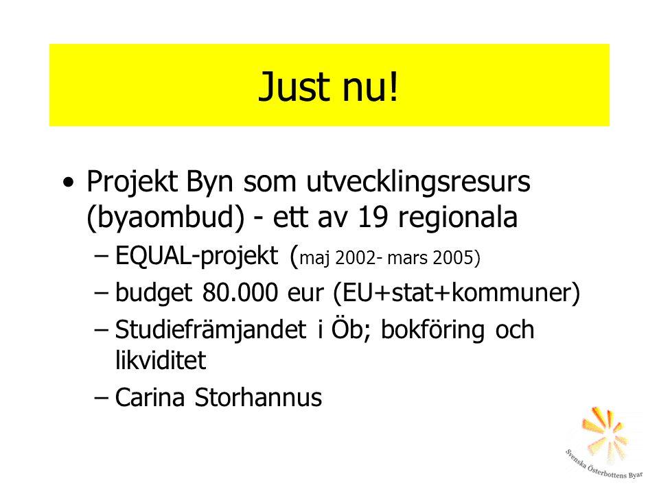 Just nu! Projekt Byn som utvecklingsresurs (byaombud) - ett av 19 regionala. EQUAL-projekt (maj 2002- mars 2005)