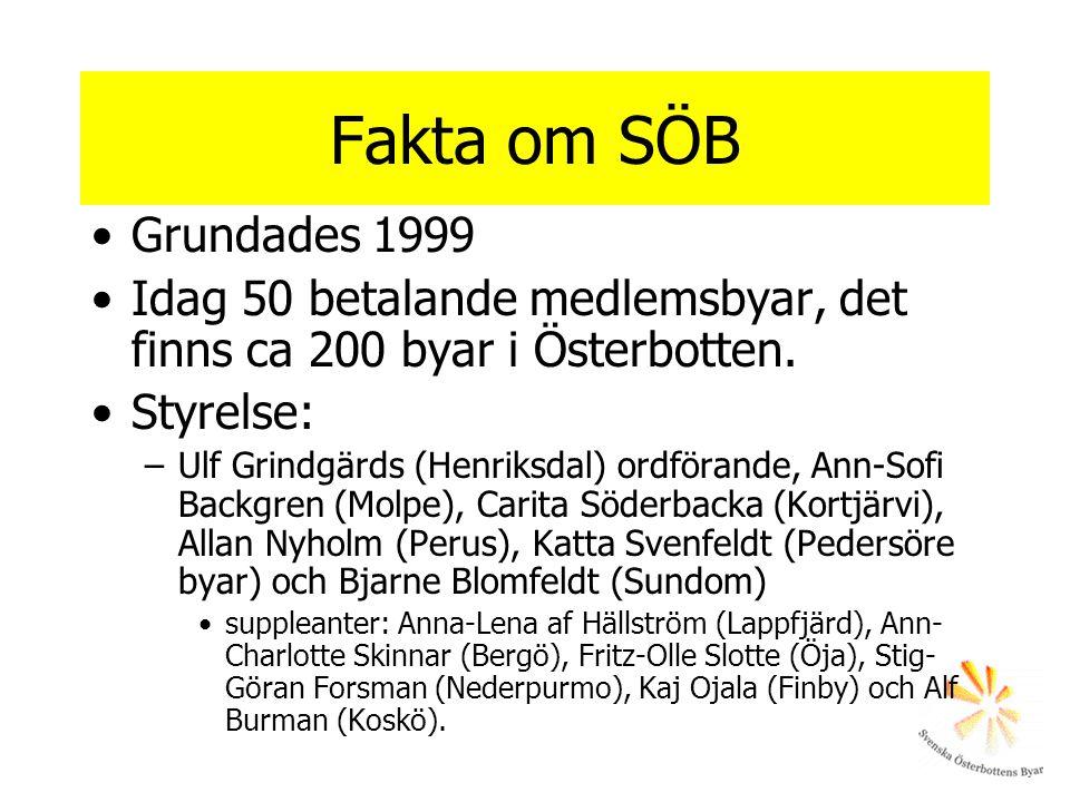 Fakta om SÖB Grundades 1999. Idag 50 betalande medlemsbyar, det finns ca 200 byar i Österbotten. Styrelse: