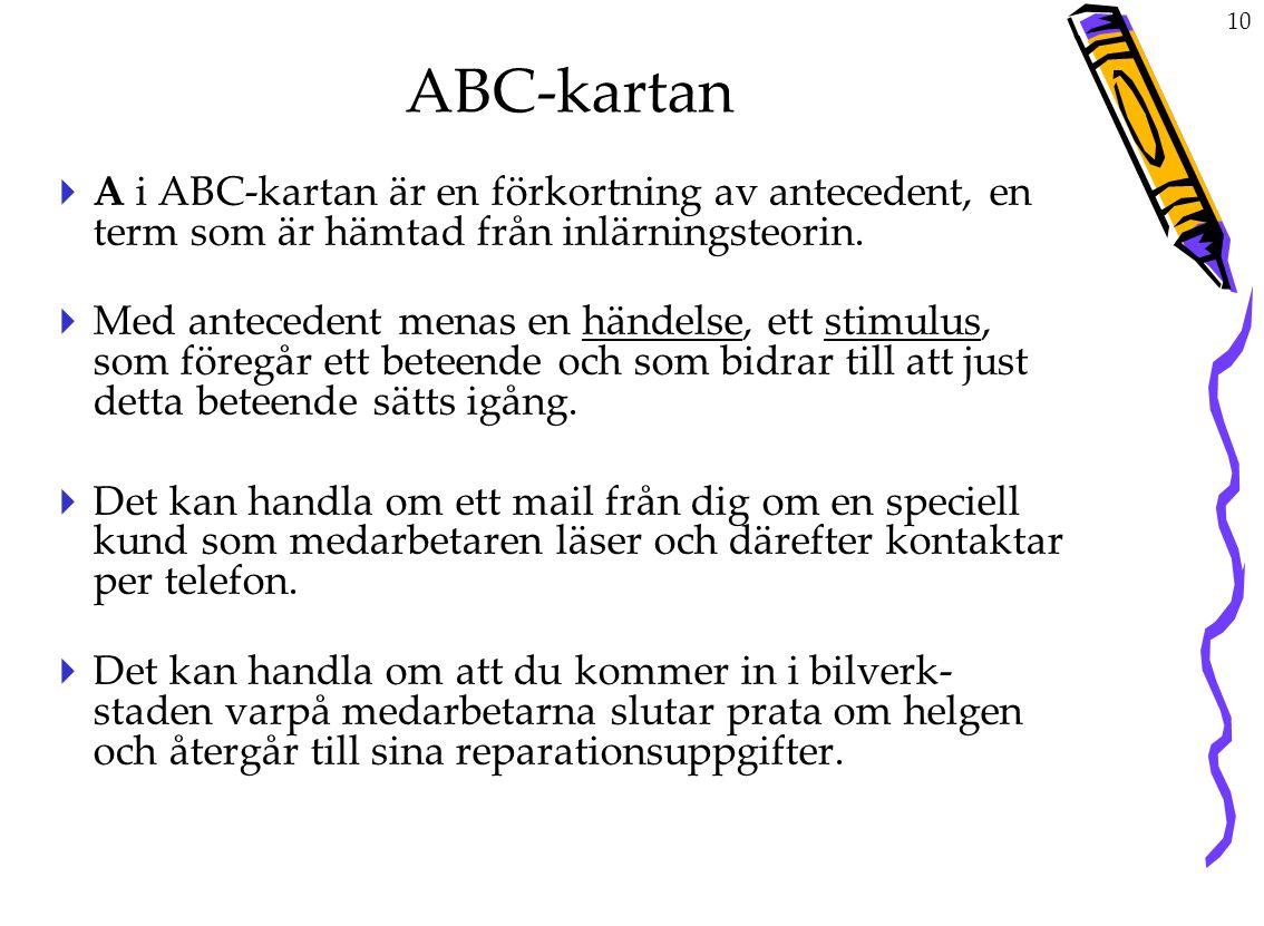 ABC-kartan A i ABC-kartan är en förkortning av antecedent, en term som är hämtad från inlärningsteorin.