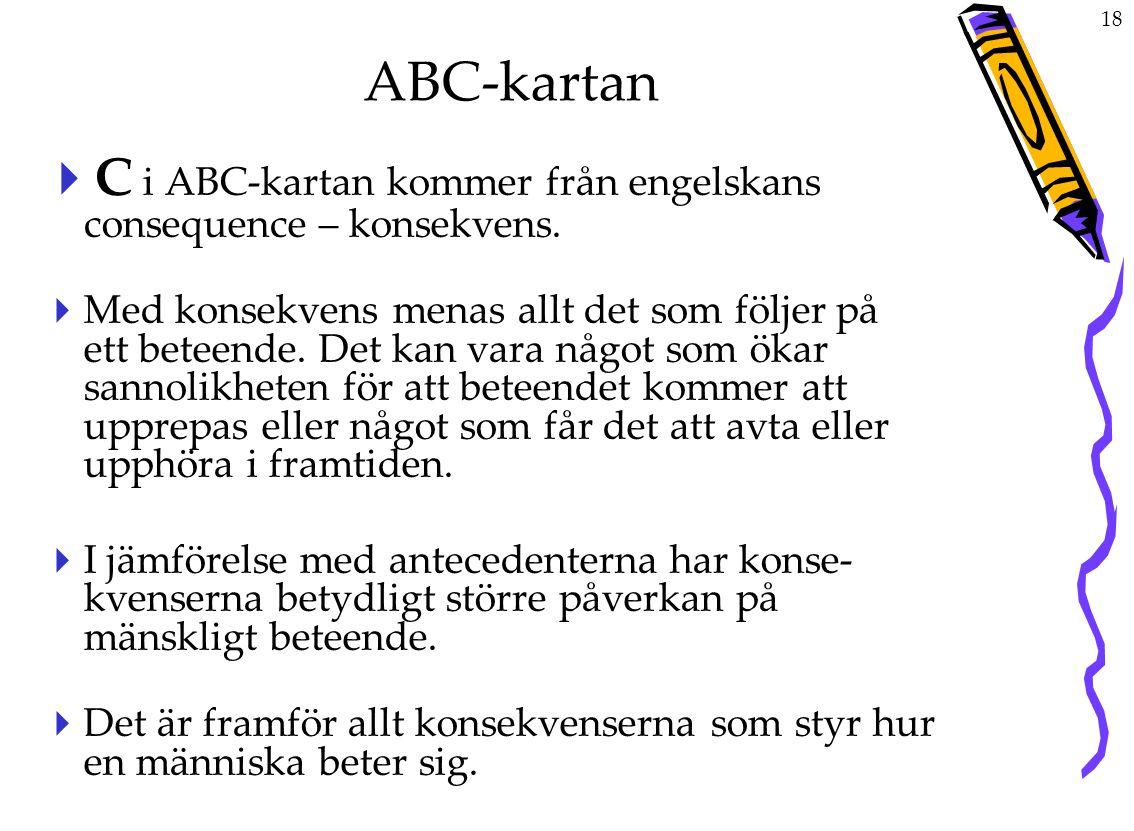 ABC-kartan C i ABC-kartan kommer från engelskans consequence – konsekvens.