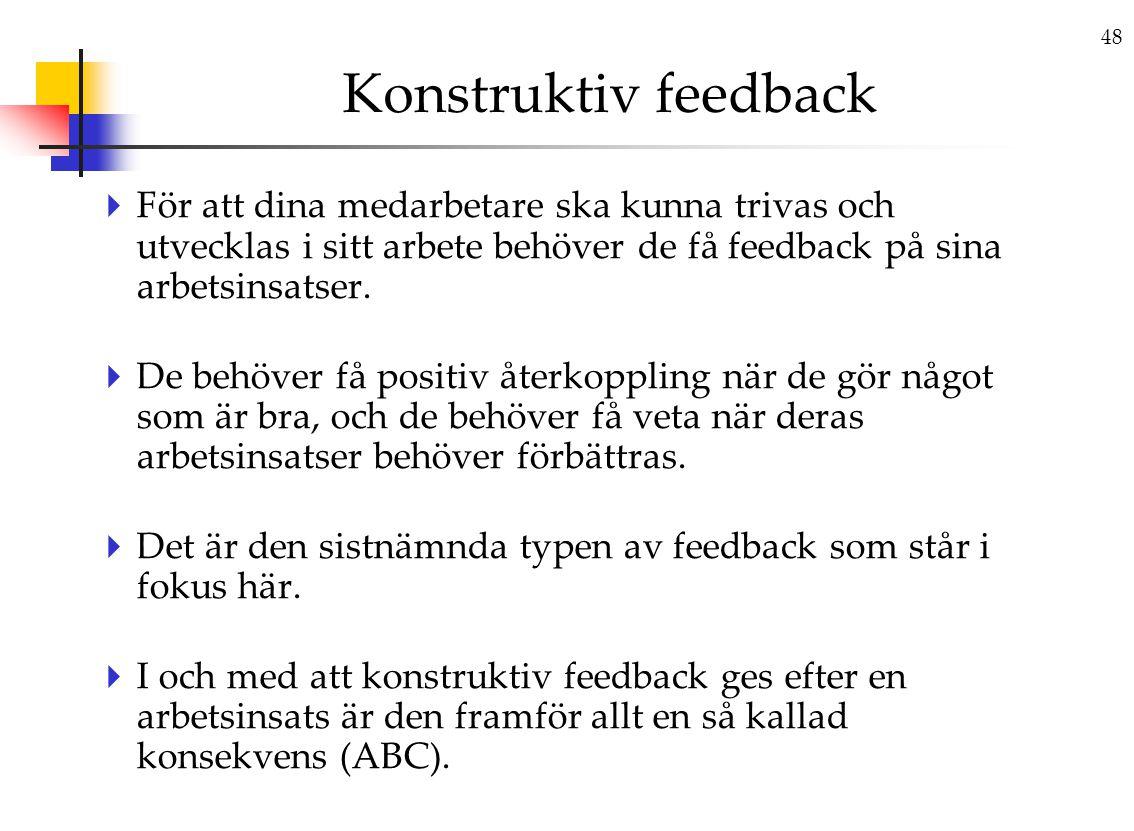 Konstruktiv feedback För att dina medarbetare ska kunna trivas och utvecklas i sitt arbete behöver de få feedback på sina arbetsinsatser.