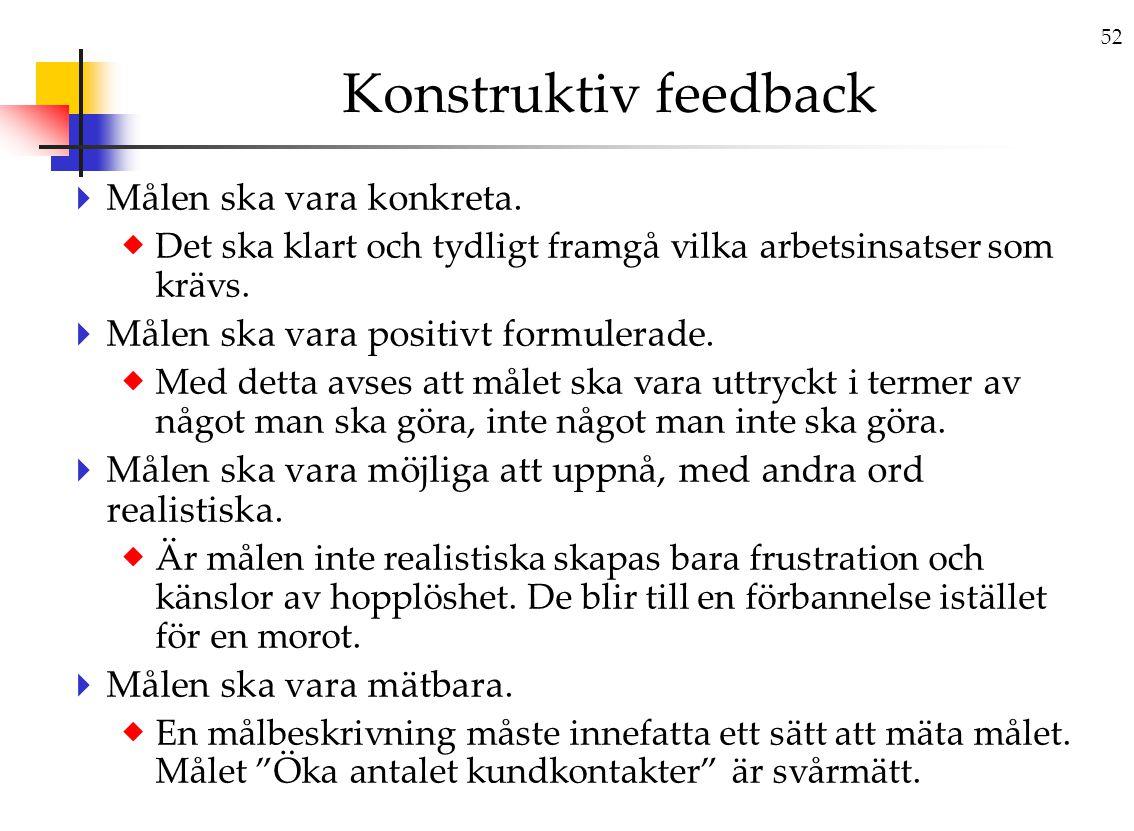 Konstruktiv feedback Målen ska vara konkreta.