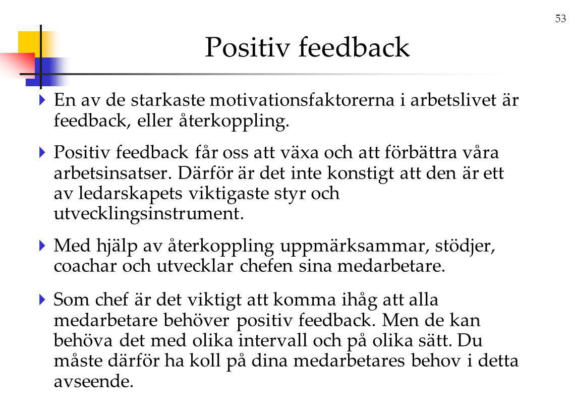 Positiv feedback En av de starkaste motivationsfaktorerna i arbetslivet är feedback, eller återkoppling.