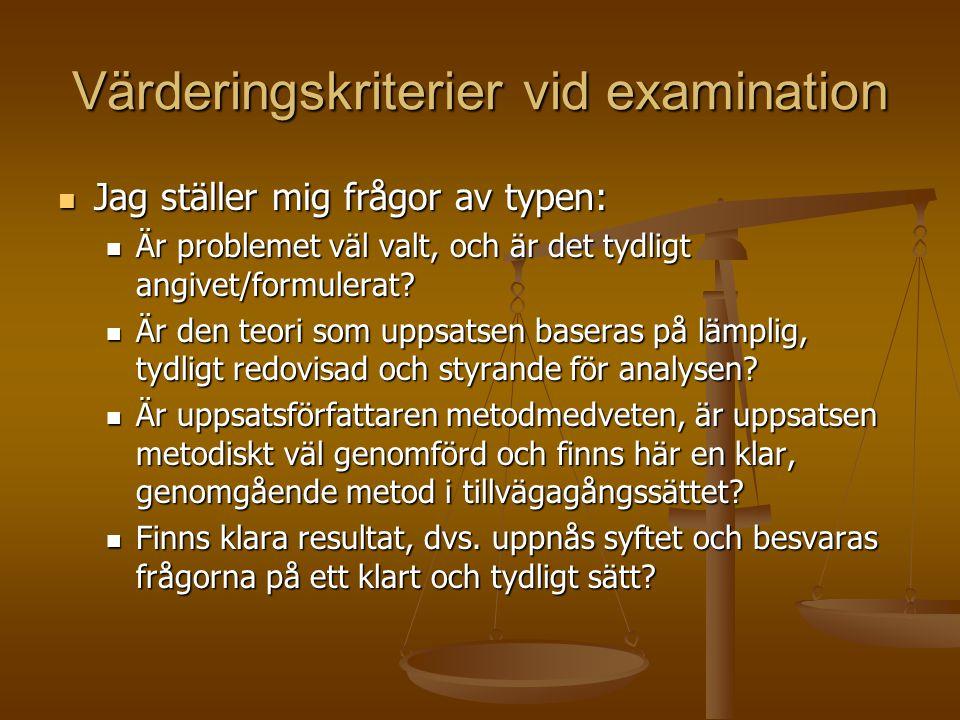 Värderingskriterier vid examination