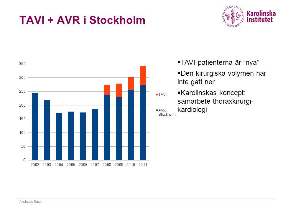 TAVI + AVR i Stockholm TAVI-patienterna är nya