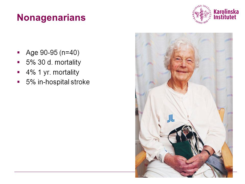 Nonagenarians Age 90-95 (n=40) 5% 30 d. mortality 4% 1 yr. mortality