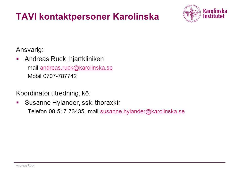 TAVI kontaktpersoner Karolinska