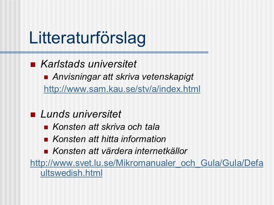 Litteraturförslag Karlstads universitet Lunds universitet