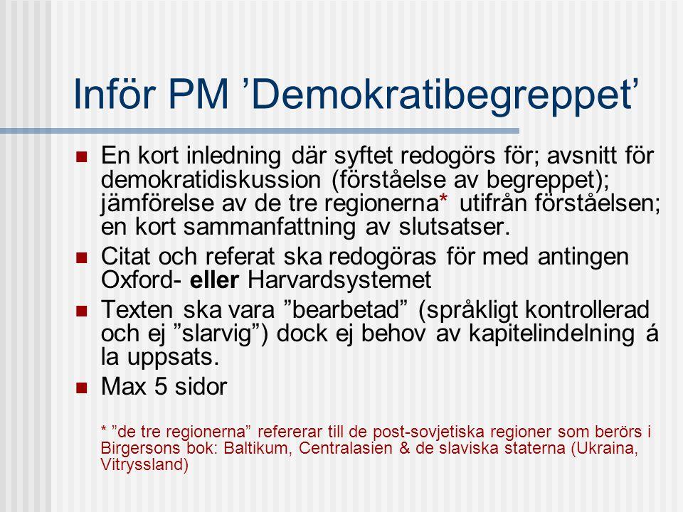 Inför PM 'Demokratibegreppet'
